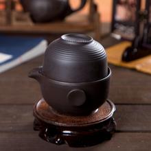2pcs,1teapot+1teacup,Korean style black color heart Yixing purple clay tea cup tea kettle gaiwan quick cup travel tea set