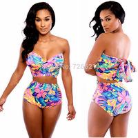 2015 New Two Piece Swimsuit Swimwear Women Sexy High Waist Bikini Print Bandage Push Up Beachwear Floral Swimsuit Bikinis Set