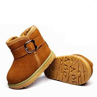 Winter genuine leather child snow boots cotton-padded sneaker shoes male female child single boots little child casual shoes