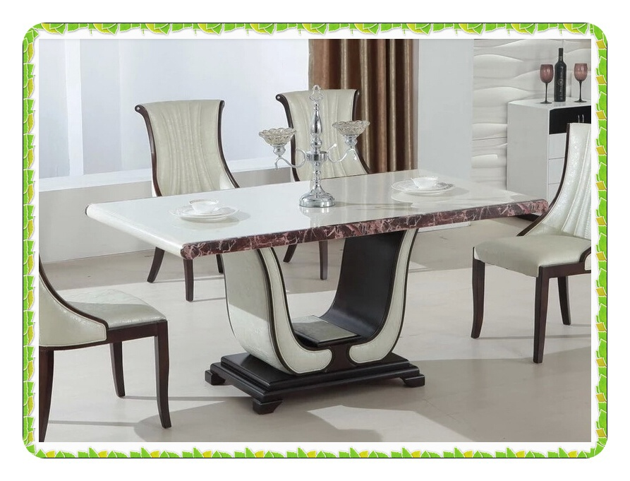 Modern leather base dining tables fashion marble dining table hot selling(China (Mainland))