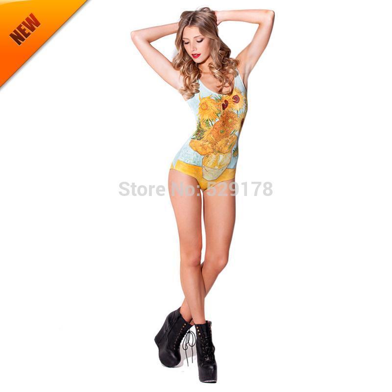 New 2015 Women Bikini Swimsuit Siamese Swimwear Sexy Beachwear Narrow Aiguillette Backless Sunflower Vase Suit Bodysuit(China (Mainland))