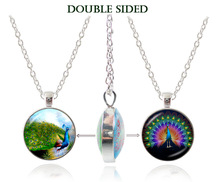 new fashion double peacock pendant necklace animal jewelry bird jewlery double faced glass dome choker statement