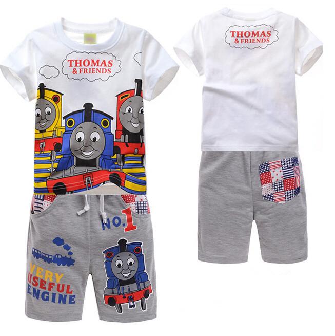Thomas Train Railway Cartoon Kids Boys Summer Clothing Sets 2015 New Short Sleeve Cotton Thomas Printed T Shirts+Tracksuits Pant(China (Mainland))