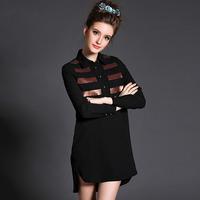Black Sequined Chiffon Shirt Blouse Long Sleeve 2015 High Low Plus Size Women Clothing 3xl,4xl,5xl #BL-Y1510