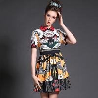 Plus Size Clothing Women Vintage Dress Floral Pattern Short Sleeve Fit-and Flare Vestidos Feminine 2015 3xl,4xl,5xl #BL-8012