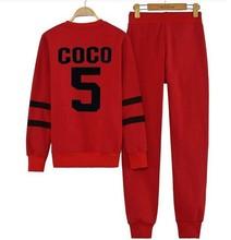 2015 unisex men women 100% cotton coco 5 Sweatshirt tracksuit Long Sleeve set Hoodie Hip hop CC Suit Blouse+Pants 2 pcs/lot(China (Mainland))