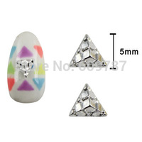 20pcs/lot Pyramid shape silver 3d alloy nail art charms scrapbooking DIY jewelry