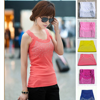 2015 Hot Fashion Sleeveless Women's T-Shirt Tank Tops Vest Polka Dot Rhinestone AY657877