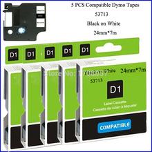 5PCS/LOT Compatible Dymo 24mm D1 Marker Labeling Tape Cartridges Black on White 45803(Free Shipping)