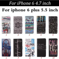 100pcs/lot 2 Credit Card Slots Folio Elephant Tribe Letters Leather Case With Stand For iPhone 6, 6 plus Free Shipping
