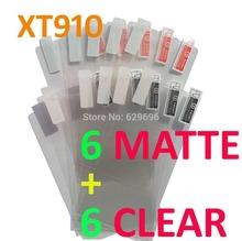 12PCS Total 6PCS Ultra CLEAR + 6PCS Matte Screen protection film Anti-Glare Screen Protector For Motorola XT910 RAZR