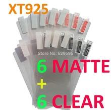 12PCS Total 6PCS Ultra CLEAR + 6PCS Matte Screen protection film Anti-Glare Screen Protector For Motorola XT925 RAZR HD