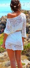 Mujeres Sping del verano Chic 3 4 de la manga de la mano del ganchillo del hombro Hippie Boho bohemia fiesta de cumpleaños a corto blanco Hippy 222(China (Mainland))