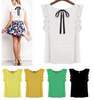 S-XL New Summer Womens Sleeveless Lotus Leaf Casual Pullover Lacing Bow Chiffon Shirt Tank Blouse White Black Blusas Femininas