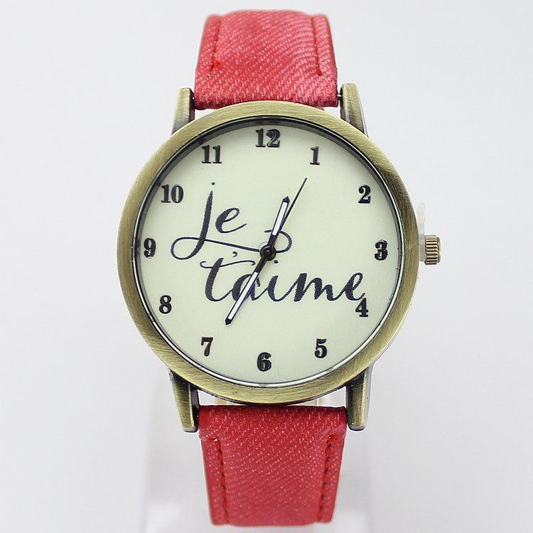 Wristwatch 2015 New Fashion Brand Quartz Casual Watch English Letter Fabric Leather Strap Cartoon Watch Men