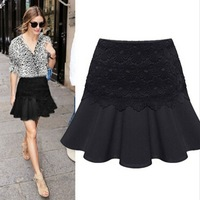New Women Solid Lace Pencil Skirt OL Ladies High Waist Casual Ruffles Skirt