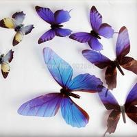 Funlife Transparent PVC 3d Vivid DIY Blue 18PCS 3D Butterfly Wall Stickers Decor Art Decorations 4 size for Wedding FLCoButt004