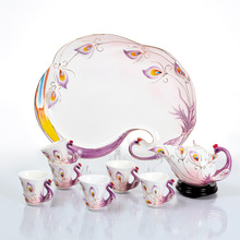 Cup saucer Special enameled teapot teacup 8pcs painted peacock fashion Painted Tea Set Drinkware Kung Fu Tea mug Bone China cup