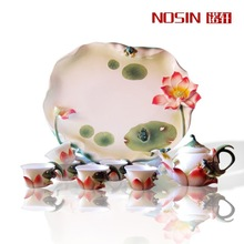 High Quality 8pcs Tea set Lotus Pond tea sets Gift Drinkware Kung Fu Tea mug Bone China wedding gift enamel coffee cups