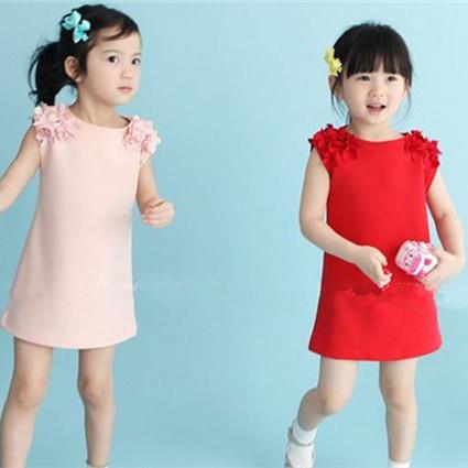 Hot Sale! 2015 Cheap Summer Dresses Kids floral Vest Dress Princess Girls Dress Red/Pink Girl-Dresses Free Shipping Kd-1502(China (Mainland))