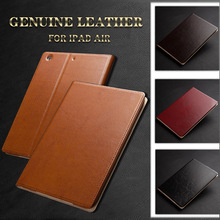 Genuine Leather Case For Ipad Air 5 Magnetic Auto Wake Up Flip Luxury Leather Cases By Real leather For Apple Ipad Case Cover(China (Mainland))