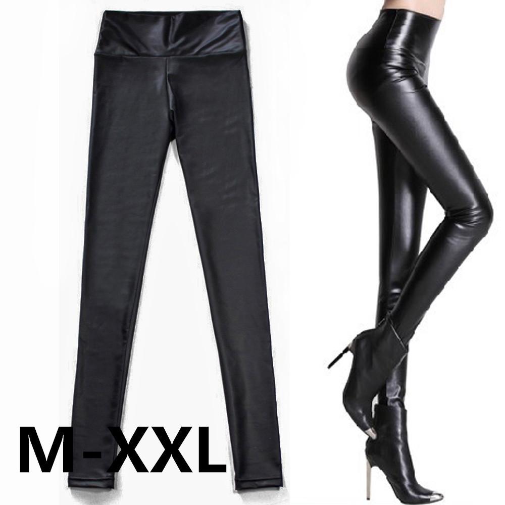 Free shipping Fashion Sexy Shiny Metallic High Waist Black Stretchy Leather Leggings Pants LY-DY-PK08(China (Mainland))