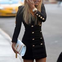 Double Breasted V neck Long Sleeve Casual Dress women's Black Office Pencil Dress Mini Zipper Dresses