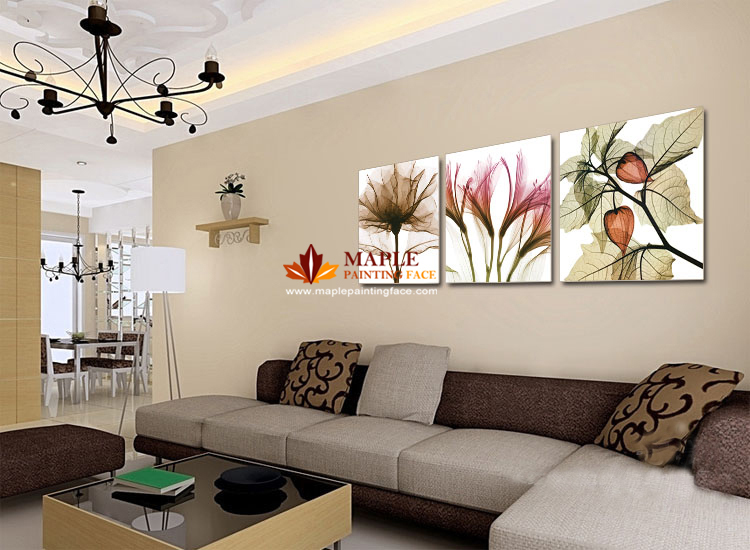 Abstract flowers paintings promotion online shopping for - Decoration murale design pour salon ...