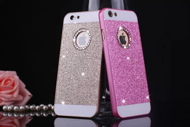 6 color Luxury Diamonds Don't fall shimmering powder case for iphone 4 4s 5 5s 6 & 6 plus Free shipping(China (Mainland))