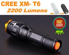 Wasserdicht cree xm-l t6 2200 lumen taschenlampe taktischen zoom cree led taschenlampe taschenlampe for3xaaa/18650 akku lanternas cree(China (Mainland))