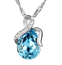 White Gold Plated SWA ELEMENT Austrian Crystal Water Drop Necklace Women Shourouk Jewlery