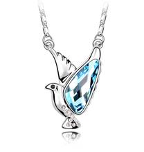 Luxury Woman 18K White Gold Plated Austrian Crystal Bird Pendant Animal Necklace Jewlery Women
