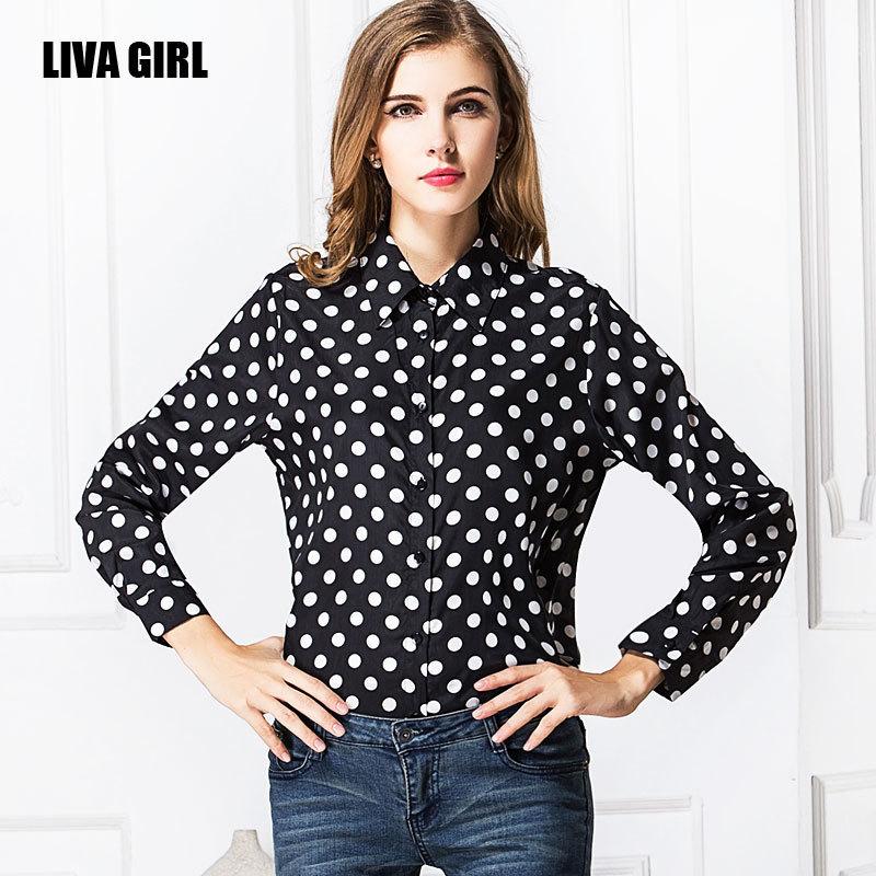 2015 nova primavera das mulheres casual Blusas branco preto marinha bolinhas Chiffon camisa Tops Blusas Femininas do Vintage(China (Mainland))