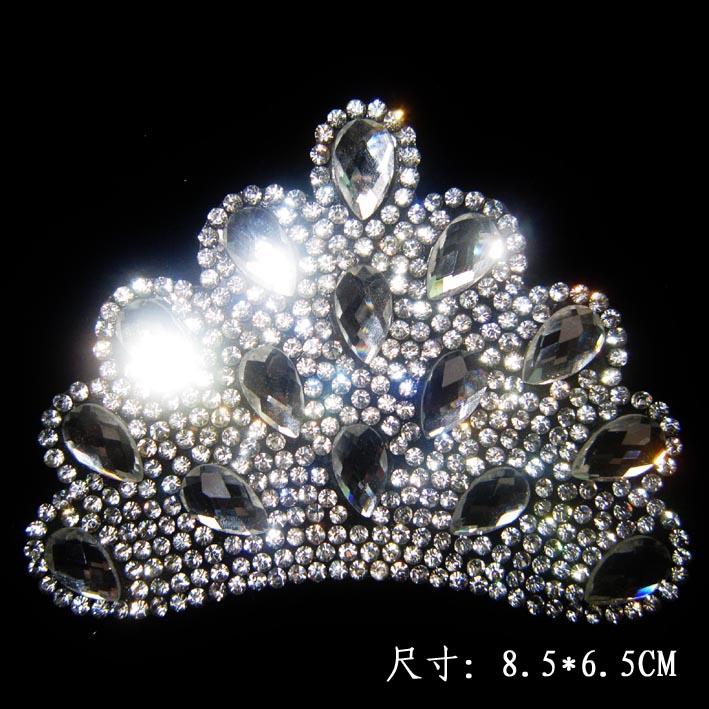 2Pcs/Lot Crown Design Hot Fix Rhinestone Iron On Heat Transfer rhinestones for t-shirt transfers(China (Mainland))