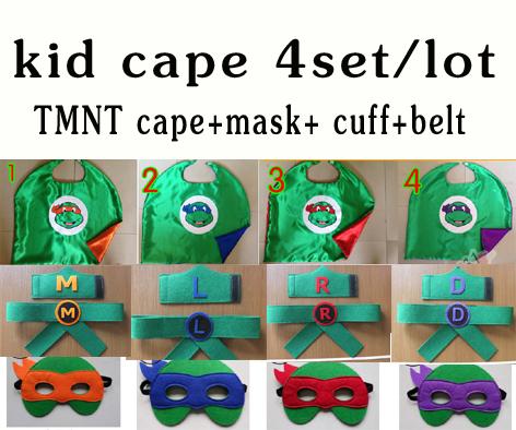 kid capes TMNT (wrist bands ,belt , mask & Cape) children Teenage Mutant Ninja Turtles capes mask freeshipping(China (Mainland))