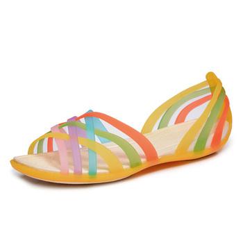 Лето 2015, горячая акция, женские сандалии, женская обувь на плоской подошве, слипоны, удобные резиновые сандалии с открытым носком, бесплатная доставка