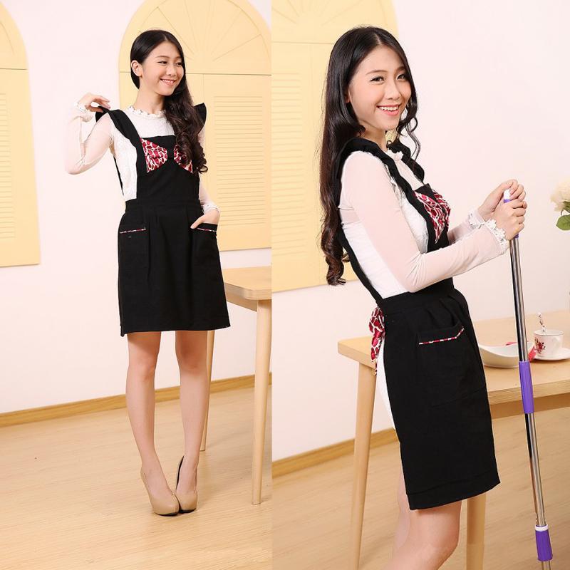 2015 NEW cute kitchen apron women cooking aprons Korean sleeveless household apron black(China (Mainland))
