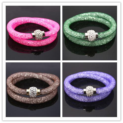 Горячая распродажа многоцветный сетка двойной звездной пыли браслет с крошечный смола кристалл магнитный браслет обруча для женщин JDB002-2