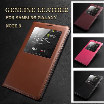 Натуральная кожа чехол для Galaxy Note 3 флип оригинальный роскошный кожаный по открытое окно для Samsung примечание III N9000 Note3 чехол читать