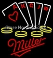Dr. Neon Awesome Neon Sign miller poker cards chip games hobby Bar Custom Neon Signs Pub art Light lamp 24''x24''inch(China (Mainland))