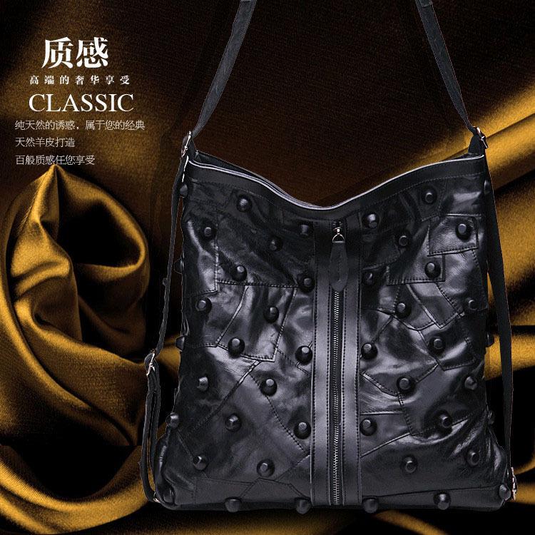Luxury Brand Natural Sheepskin women messenger bags Fashion Patchwork shoulder tote bag Nice Rivet genuine leather bag for women(China (Mainland))