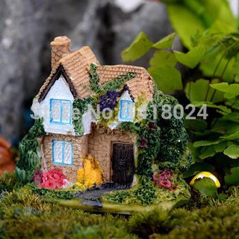 Продажа 4 конструкции вилла здание смолы ремесла дом сад миниатюры гном микро пейзаж декор бонсай для домашнего декора DIY