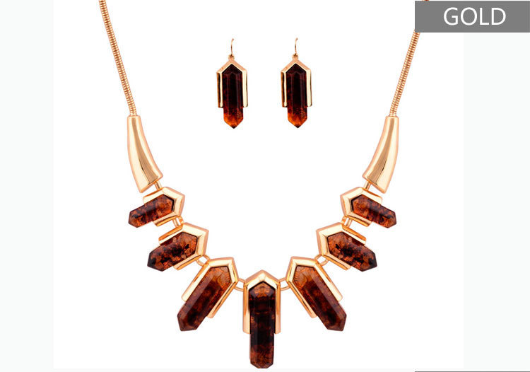 NEW Fashion Vintage Pendant Necklaces Earrings precious Stone Material Gold/silver color chain Jewelry sets for women(China (Mainland))