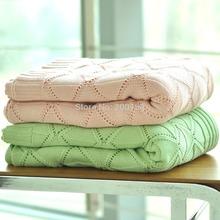 Nuevo 2015 Plaid manta cama 1 unid 100% de punto de algodón lanza / manta para el adulto juego de cama en la primavera / verano marca king size(China (Mainland))