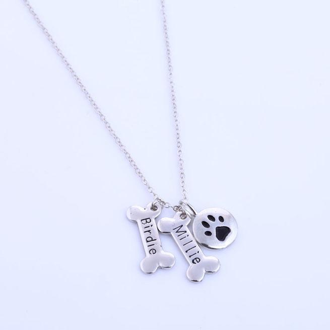 Custom Name Pet Jewelry,Silver Dog Paw Necklace,Monogrammed Gift,Paw Print,Initial Memorial Dog Bone Charms Baidu Logo(China (Mainland))