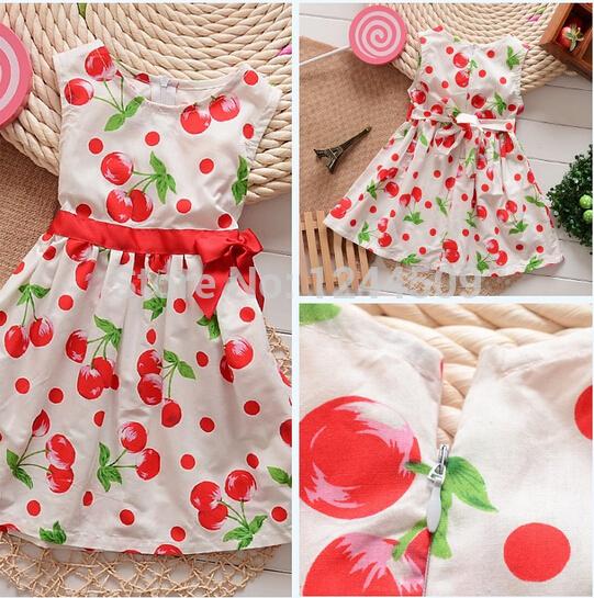 New 2015 summer children girl 100%cotton Cherry bow princess one piece dress kids girl dress clothing(China (Mainland))