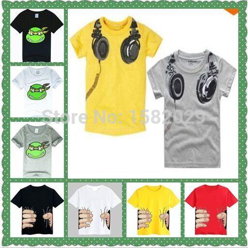 New 2015 children t-shirts, Headphone Design T shirt Boys Kids Short Sleeve Tops T-shirt cotton Tees(China (Mainland))