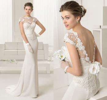 Романтические кружева аппликация невесты платья 2015 сексуальная открытой спиной русалка свадебные платья белого шифона и напряжение цены в евро