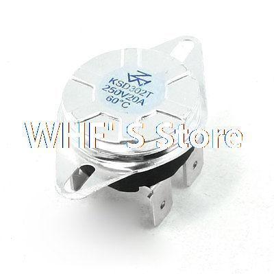 AC 250V 20A Normal Close 60C Temperature Control Switch Bimetal Thermostat(China (Mainland))