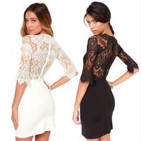 FashionSmellStore Vestido De Renda Vestidos Free Shipping Dress Crochet White & Black Sexy Lace Women Crochet Dress